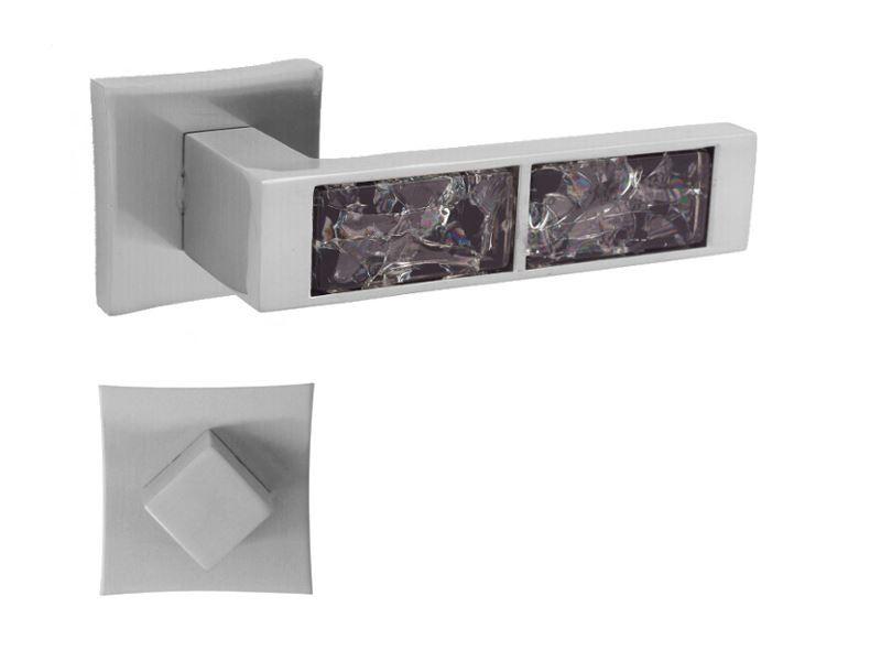 KLAMKA GAZELA BLACK-QR M9 + ROZETA WC
